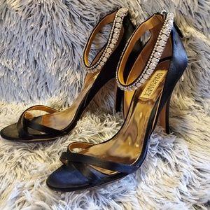 Badgley Mischka Jewel Ankle Strap Satin Sandal 7.5